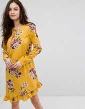 Vila Floral Printed Mini Dress With Frill Hem-multi