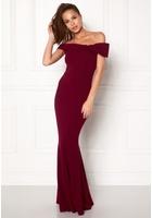 Goddiva Bardot Fishtail Maxi Dress Berry M (uk12)