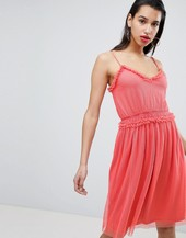 Vila Dobby Spot Tulle Mini Dress In Pink