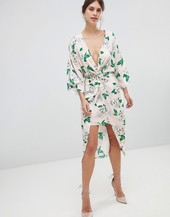 Asos Design Pretty Floral Satin Kimono Midi Dress-multi