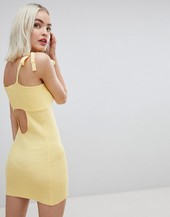 Emory Park Tie Shoulder Cami Dress In Fine Rib Knit-yellow