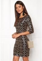 Vila Beady 3/4 Dress Black Detail Gold Xs