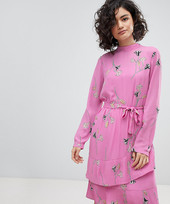 Vero Moda Floral Tie Midi Shift Dress In Pink