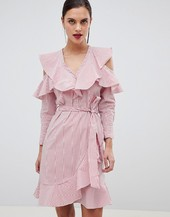 Y.a.s Ruffle Stripe Mini Dress With Cold Shoulder In Pink-multi