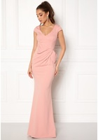 Goddiva Cap Sleeve Maxi Dress Nude M (uk12)