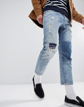 Just Junkies Cropped Patch Jean-blue