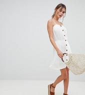 Boohoo Exclusive Button Down Mini Dress-white
