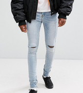 Sixth June Skinny Jeans In Lightwash Blue With Knee Rips Exclusive To Asos