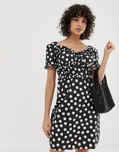 Lost Ink Dress With Frill Detail In Polka Dot-black