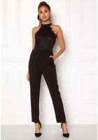 Ax Paris High Neck Bodice Jumpsuit Black L (uk14)
