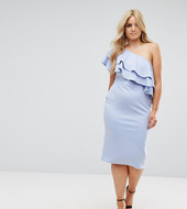 Asos Curve One Shoulder Double Ruffle Midi Bodycon Dress-blue