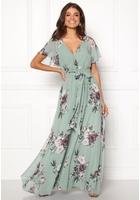 Goddiva Floral Sleeve Maxi Dress Duck Egg M (uk12)