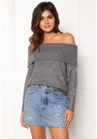 Jacqueline De Yong Alice L/s Off Shoulder Dark Grey Melange Xl