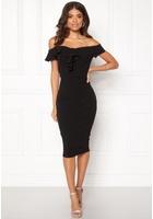 Ax Paris Bardot Frill Detail Dress Black M (uk12)