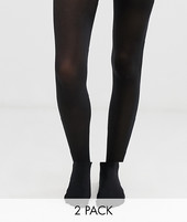 Gipsy 60 Denier 2 Pack Tights-black