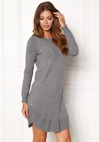 Vero Moda Annika Ls Ruffle Dress Medium Grey Melange S