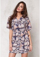 Soaked In Luxury Firo Wrap Dress Confetti Print Xs