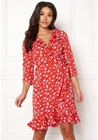 Vero Moda Molly Poly 3/4 Wrap Dress Poppy Red Xs
