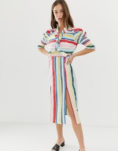 Vero Moda Stripe Midi Dress With Side Splits-multi