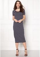Only Abbie Stripe Calf Dress Night Sky Stripe Xs