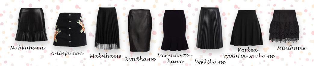 Forskellige typer sorte nederdele samt tekst på prikket baggrund